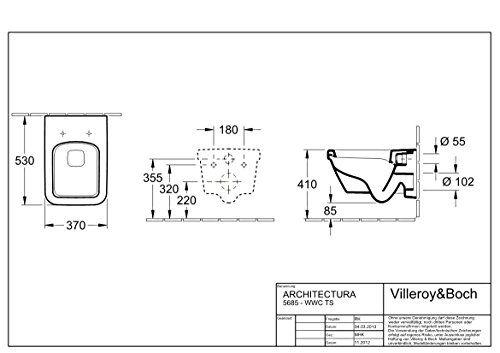 villeroy boch umivaonik architectura 60 cm tehnički crtez