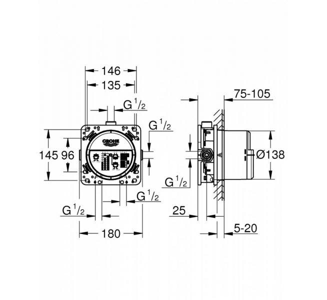 grohe rapido smartbox ugradni mešač tehnički crtež
