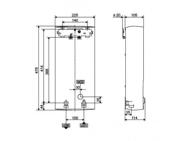protočni bojler stiebel eltron peo tehnički crtez
