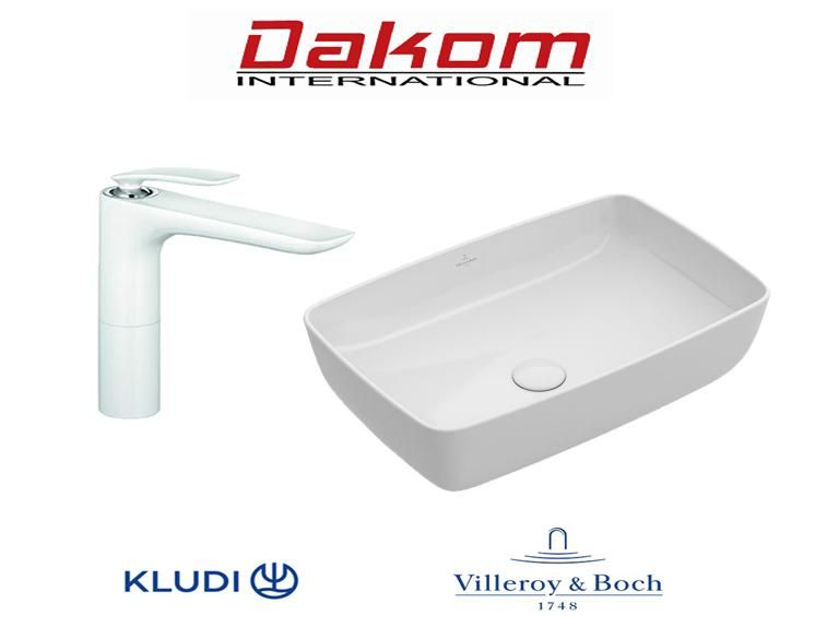 Villeroy & Boch umivaonik + Kludi visoka bela baterija za umivaonik